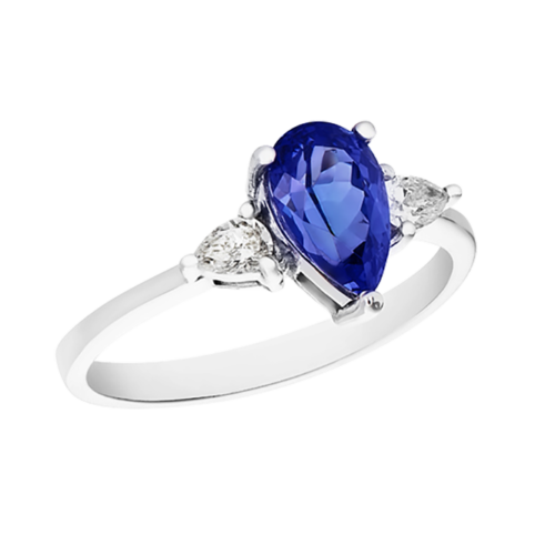 Pear shpe Tanzanite trilogy ring in white gold