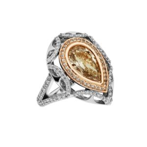 Fancy brown yellow pear shaped diamond ring