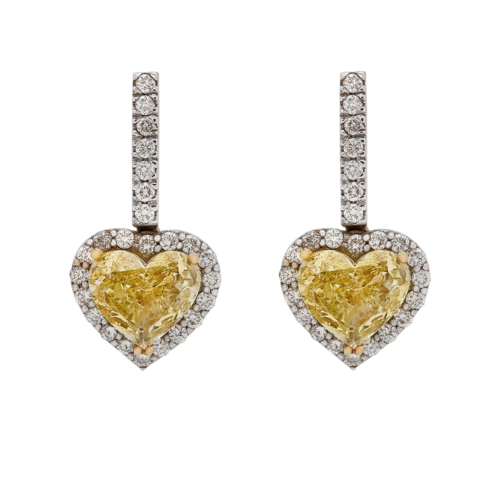Heart shape Natural Fancy Yellow Diamond Earrings