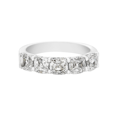 Crisscut cushion half eternity ring