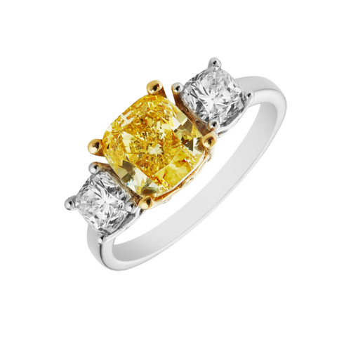 Natural Fancy Yellow Cushion cut trilogy diamond ring