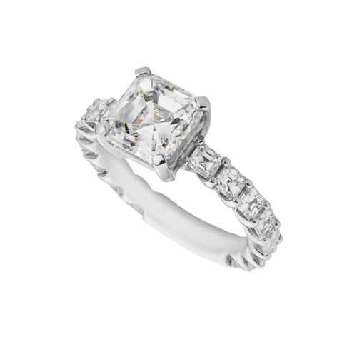 platinum square emerald cut diamond ring