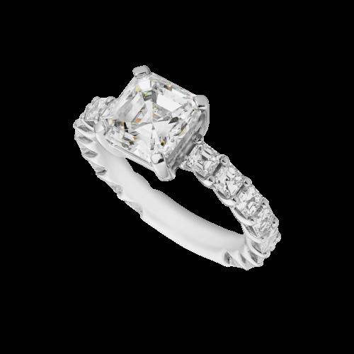 platinum square emerald cut diamond ring
