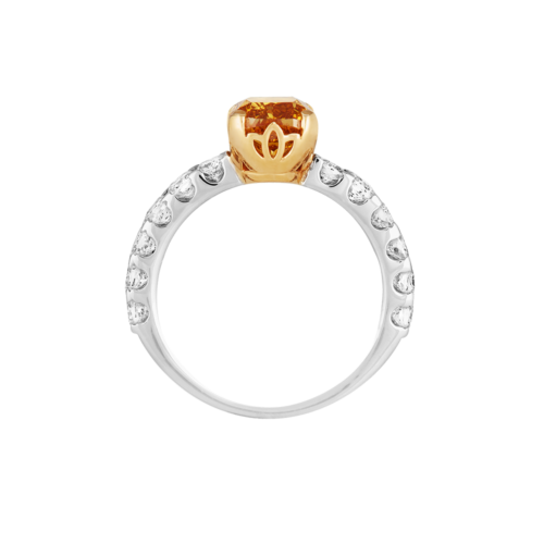 Fancy Orange Yellow Cushion Cut Diamond Ring