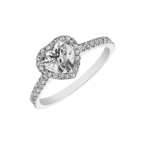 Heart shape halo diamond ring