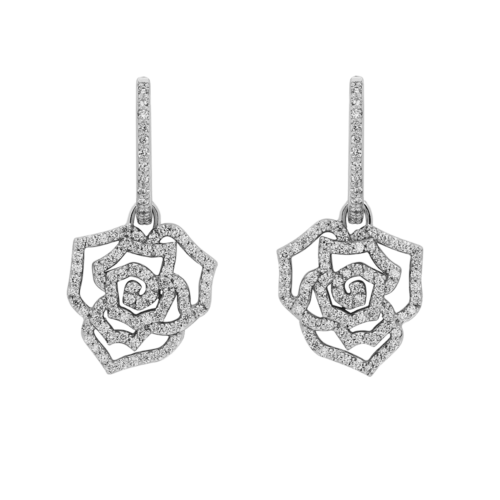 Floral Design Diamond Drop Earrings