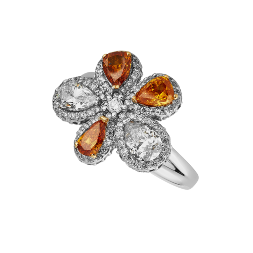 Orange diamond flower dress ring