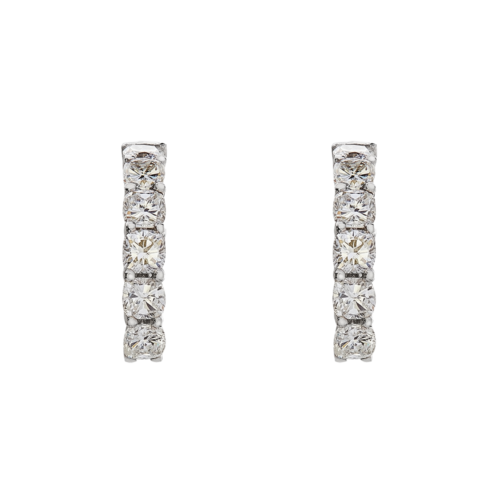 Platinum Cushion cut half hoop earrings