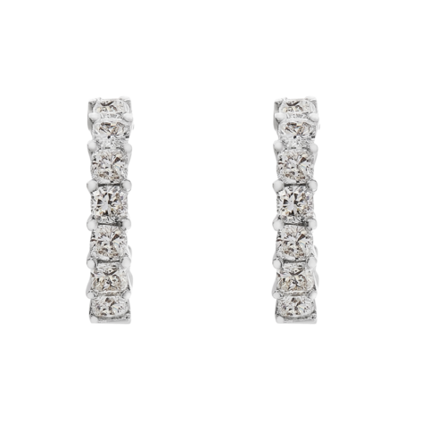 cushion cut platinum hoop earrings