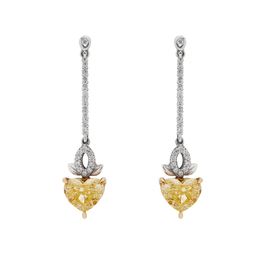 heart shape yellow diamond drop earrings