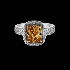 Fancy Brown-Orange Cushion Cut Diamond Ring