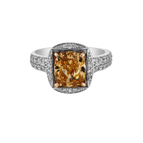 Fancy Brown-Orange Cushion Cut Diamond Ring