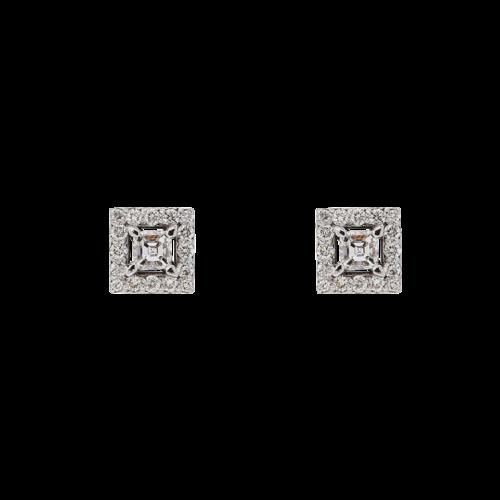 Square halo diamond earrings - square emerald cut