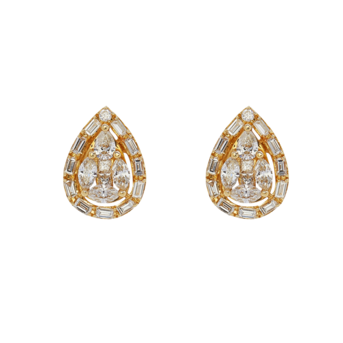 Pear shape illusion diamond earrings
