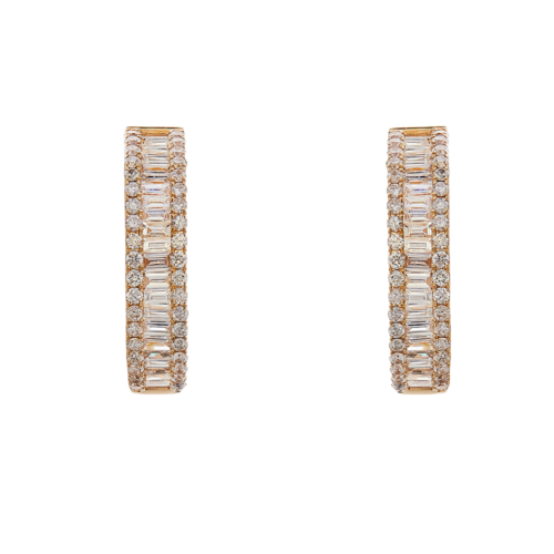 Rose gold Baguette and Round Diamond Hoop Earrings