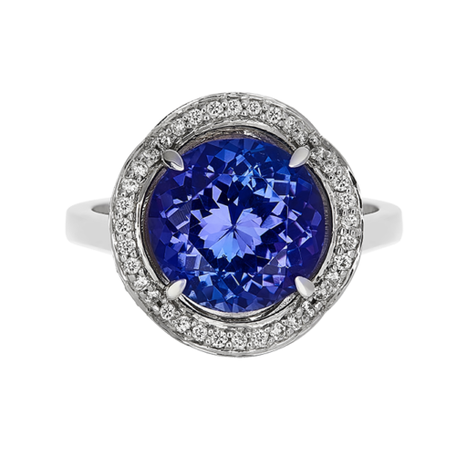 Round Tanzanite ring with crown halo