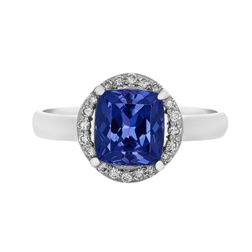 Cushion cut halo tanzanite ring