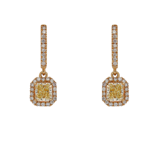 Yellow Diamond drop earrings with English lock