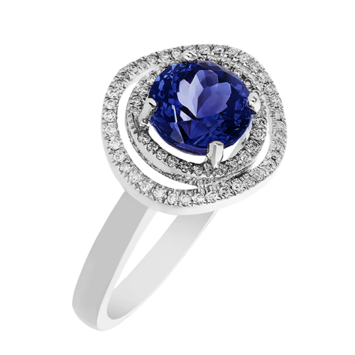 Double halo round Tanzanite ring