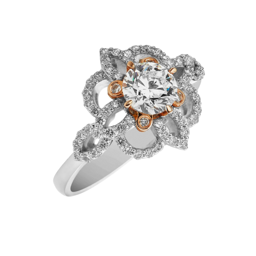 white gold diamond flower ring