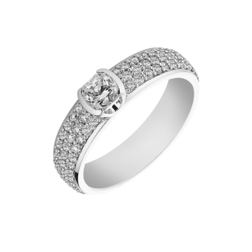 white gold Cushion Cut Diamond Ring with Pave Band