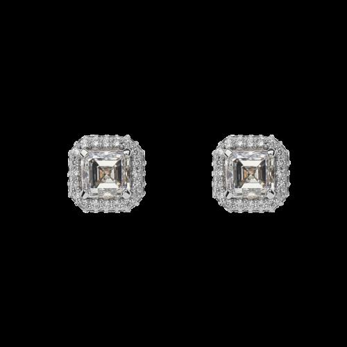 Asscher Cut Halo Diamond Studs