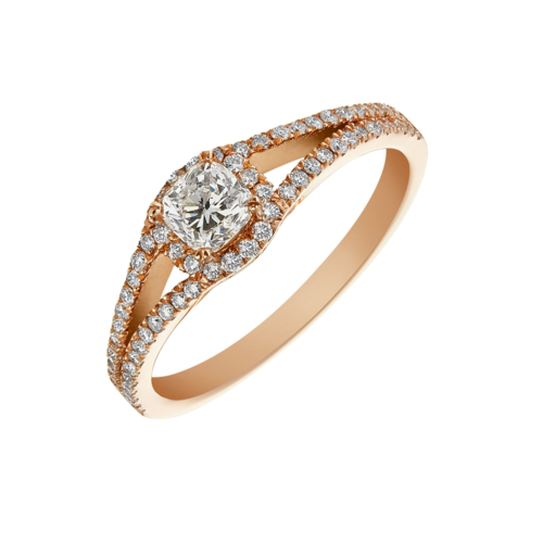 Rose Gold Cushion Cut Split Shank Diamond Ring