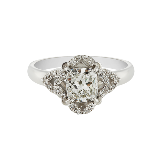 white gold cushion cut diamond Victorian ring