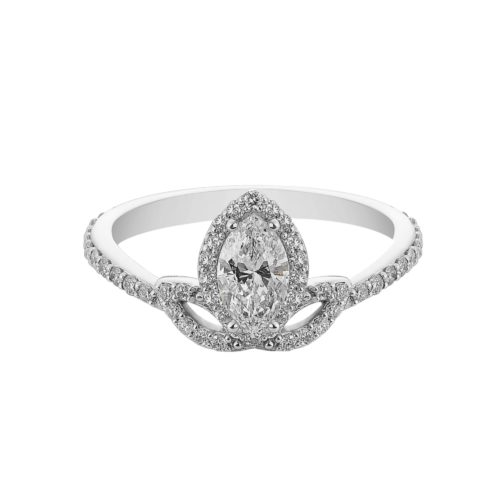 Marquise shaped diamond ring