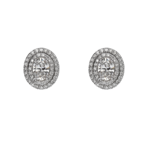 Double Halo Oval diamond studs