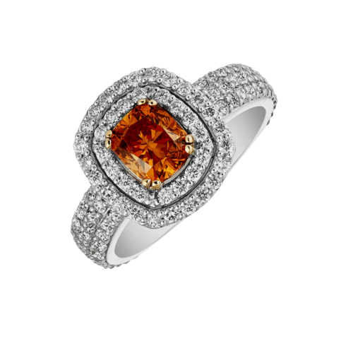 Fancy Orange Double Halo Diamond Ring