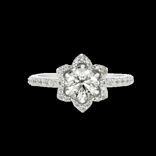Flower Halo diamond ring