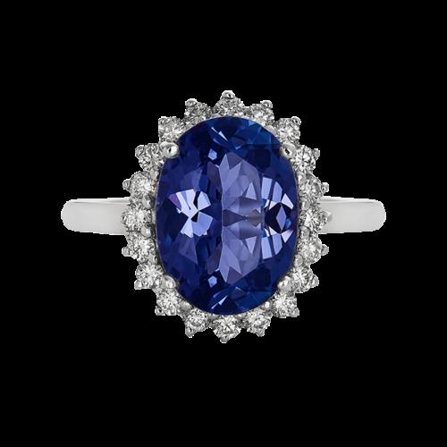 Oval tanzanite ring with diamond halo
