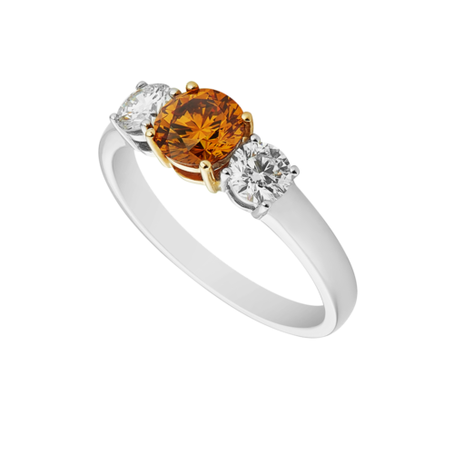 Fancy Brown-Yellow Trilogy Diamond Ring