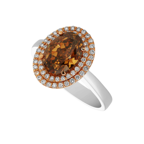 Double Halo Orange-Brown Diamond Ring