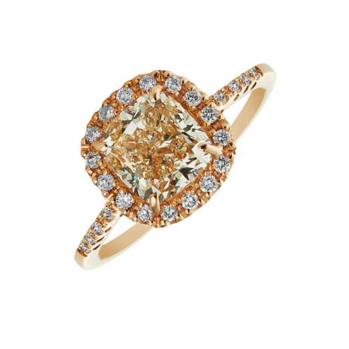 Rose gold cushion cut halo diamond ring