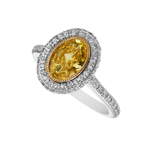 White gold diamond ring with Fancy yellow oval diamond