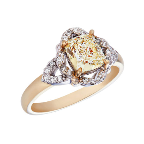 Rectangular Cushion cut fancy yellow diamond ring