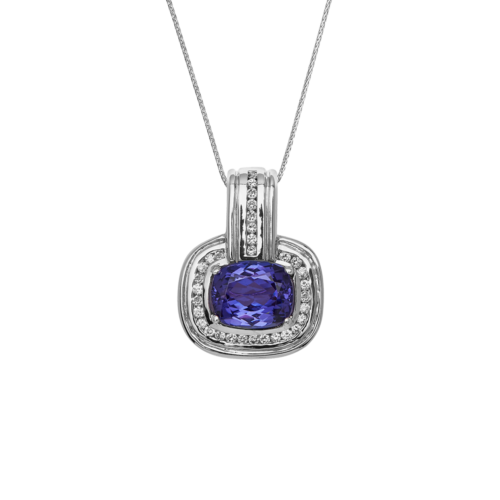 Retangular Cushion Cut Tanzanite Pendant