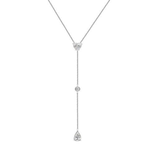 Heart shape Tuxedo Diamond Necklace