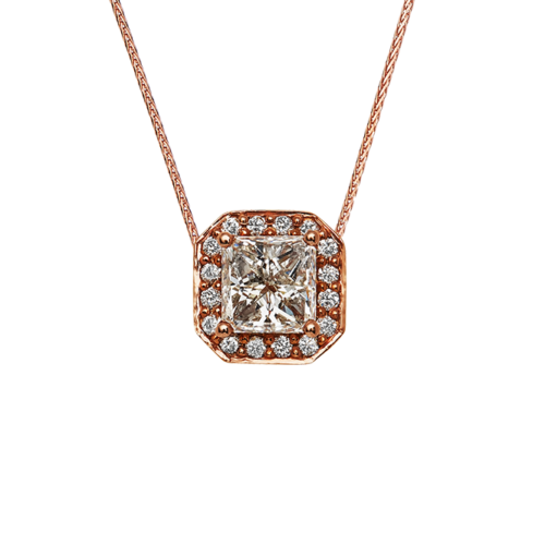 18K Rose Gold Diamond Pendant set with a princess cut diamond centre stone and round brilliant cut diamonds.