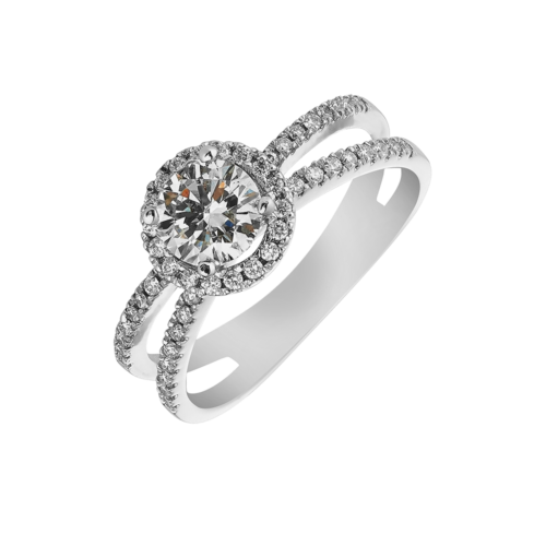 Round Brilliant Split Shank Halo Ring