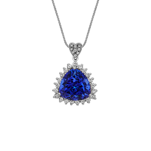 Trillion Cut Tanzanite Halo Pendant