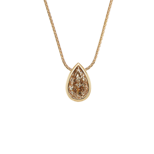 Fancy Brown pear shape diamond pendant