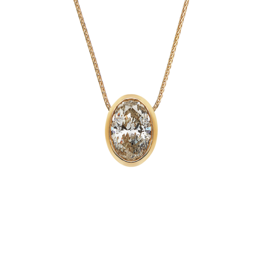 Tube Set Oval Diamond Pendant