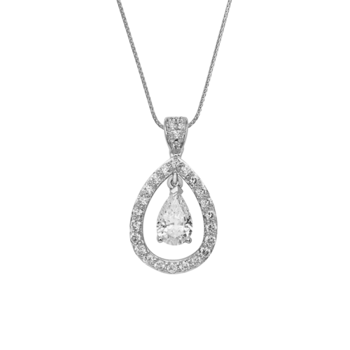 Pear Shape floating diamond pendant