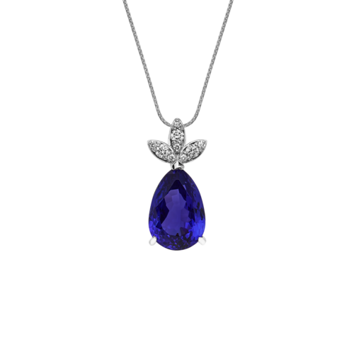 Pear Shape Tanzanite and Diamond Angel Pendant