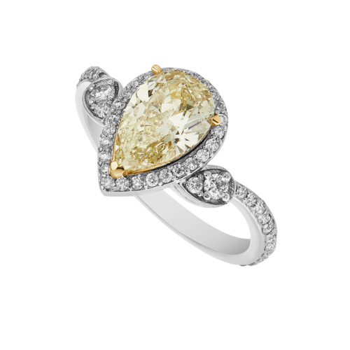 Fancy Yellow Pear Shape Diamond Ring
